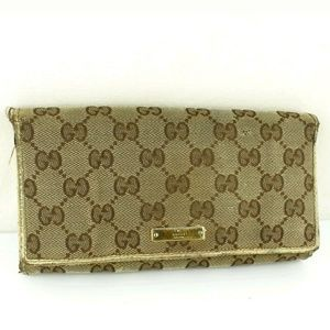 AUTHENTIC GUCCI GG Pattern Canvas Chain wallet